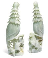 A PAIR OF CHINESE JADE PHOENIX<BR>20TH CENTURY |