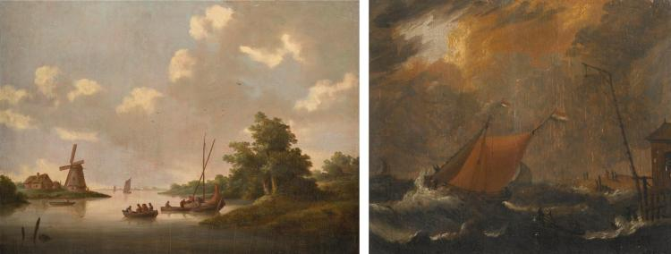 FOLLOWER OF JAN VAN OS | A river landscape with figures in boats, a windmill beyond