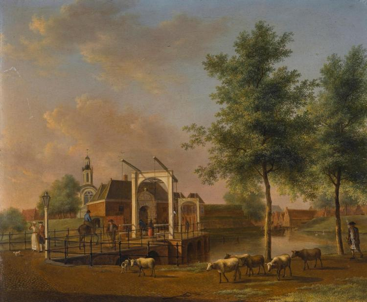 JOHANNES JANSON | A view of Hogewoerd city gate, Leiden, with figures on the bridge and a shepherd with his flock