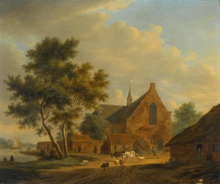 JOHANNES JANSON | A drover with livestock by a church and a river