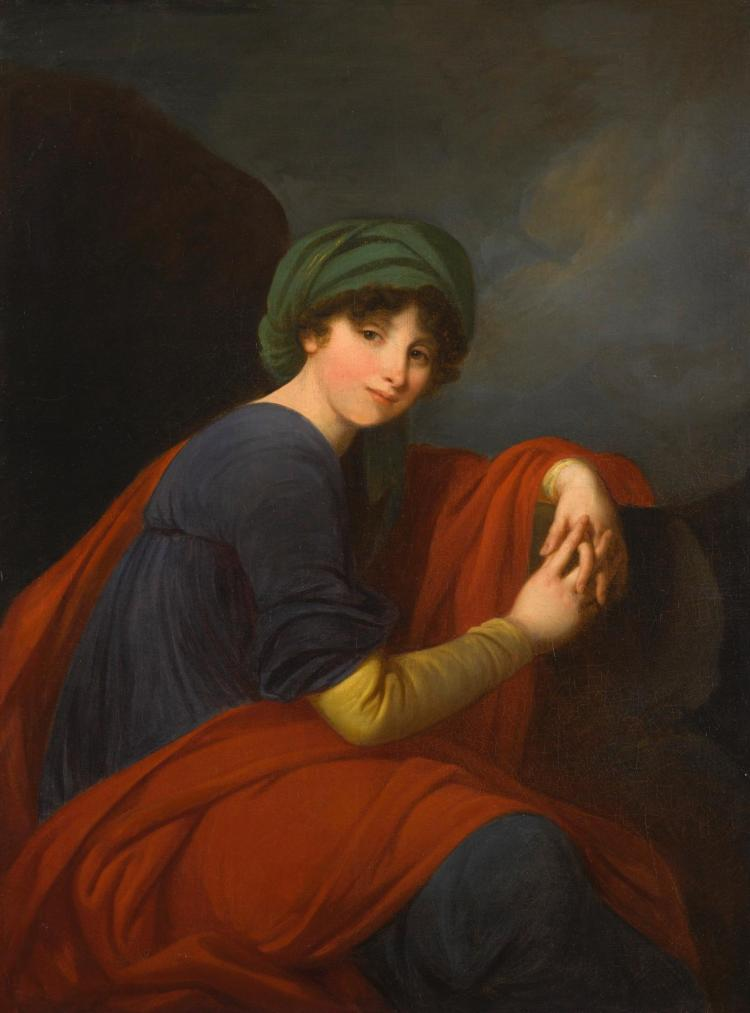 FOLLOWER OF ELISABETH-LOUISE VIGÉE LE BRUN | Portrait of a lady, three-quarter length, wearing a green turban and a blue dress beneath a red mantle