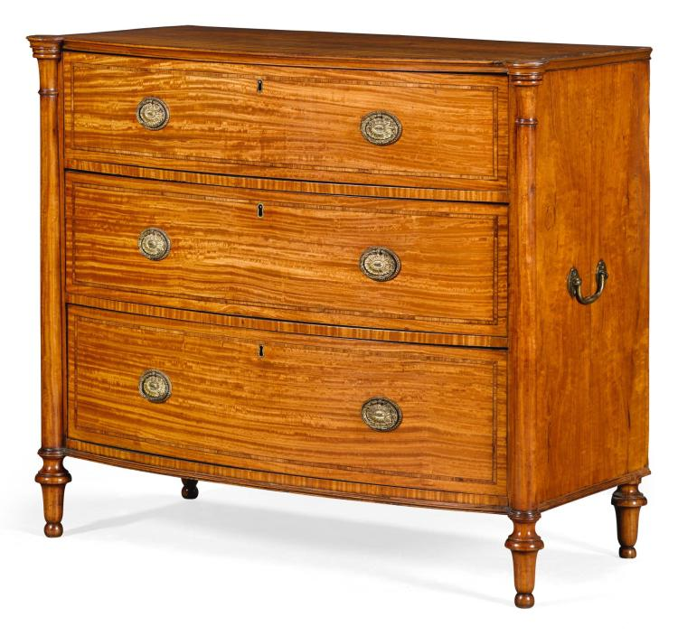 A GEORGE III KINGWOOD BANDED SATINWOOD BOWFRONT CHEST OF DRAWERS, CIRCA 1790 |