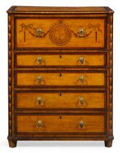 AN IRISH GEORGE III MARQUETRY AND PENWORK DECORATED SATINWOOD SECRÉTAIRE CHEST, CIRCA 1785, ATTRIBUTED TO WILLIAM MOORE OF DUBLIN |