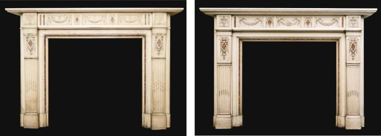 A NEAR PAIR OF VICTORIAN STATUARY MARBLE AND VIOLET BROCATELLE CHIMNEYPIECES, LATE 19TH CENTURY |