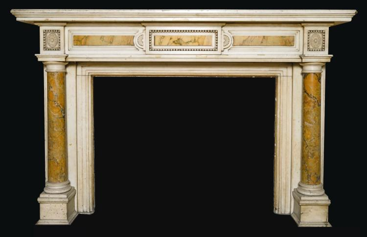 A VICTORIAN STATUARY AND SIENA MARBLE CHIMNEYPIECE, LATE 19TH CENTURY |