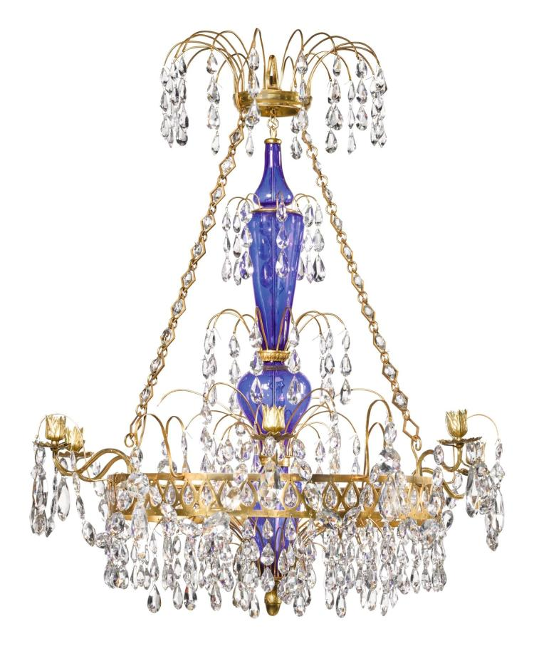 A RUSSIAN GILT-METAL AND CUT-GLASS SIX-LIGHT CHANDELIER, CIRCA 1810 |