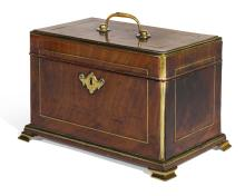 A GEORGE II BRASS INLAID MAHOGANY TEA CHEST, CIRCA 1750, IN THE MANNER OF LANDALL & GORDON |