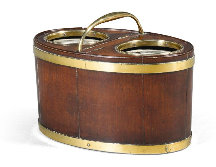 A GEORGE III BRASS MOUNTED MAHOGANY WINE COOLER, CIRCA 1790 |