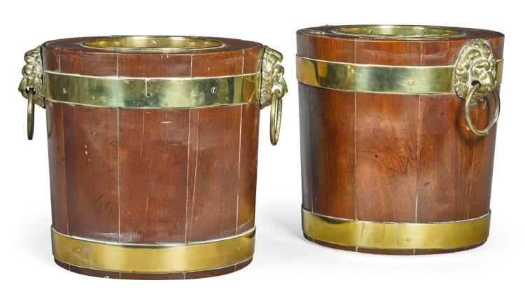 A PAIR OF REGENCY BRASS BOUND MAHOGANY WINE COOLERS, FIRST QUARTER 19TH CENTURY |