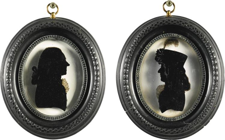 A PAIR OF REGENCY REVERSE GLASS PAINTED PROFILES BY CHARLES ROSENBERG, BATH, FIRST QUARTER 19TH CENTURY |
