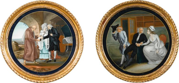 A PAIR OF CHINESE EXPORT REVERSE PAINTED GLASS PANELS DEPICTING SCENES FROM LAWRENCE STERNE'S 'SENTIMENTAL JOURNEY', EARLY 19TH CENTURY |