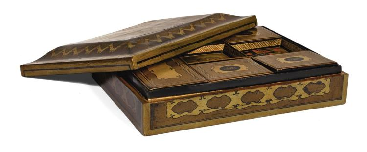 A CHINESE EXPORT GILT AND BLACK LACQUER GAMES BOX, CIRCA 1815 |