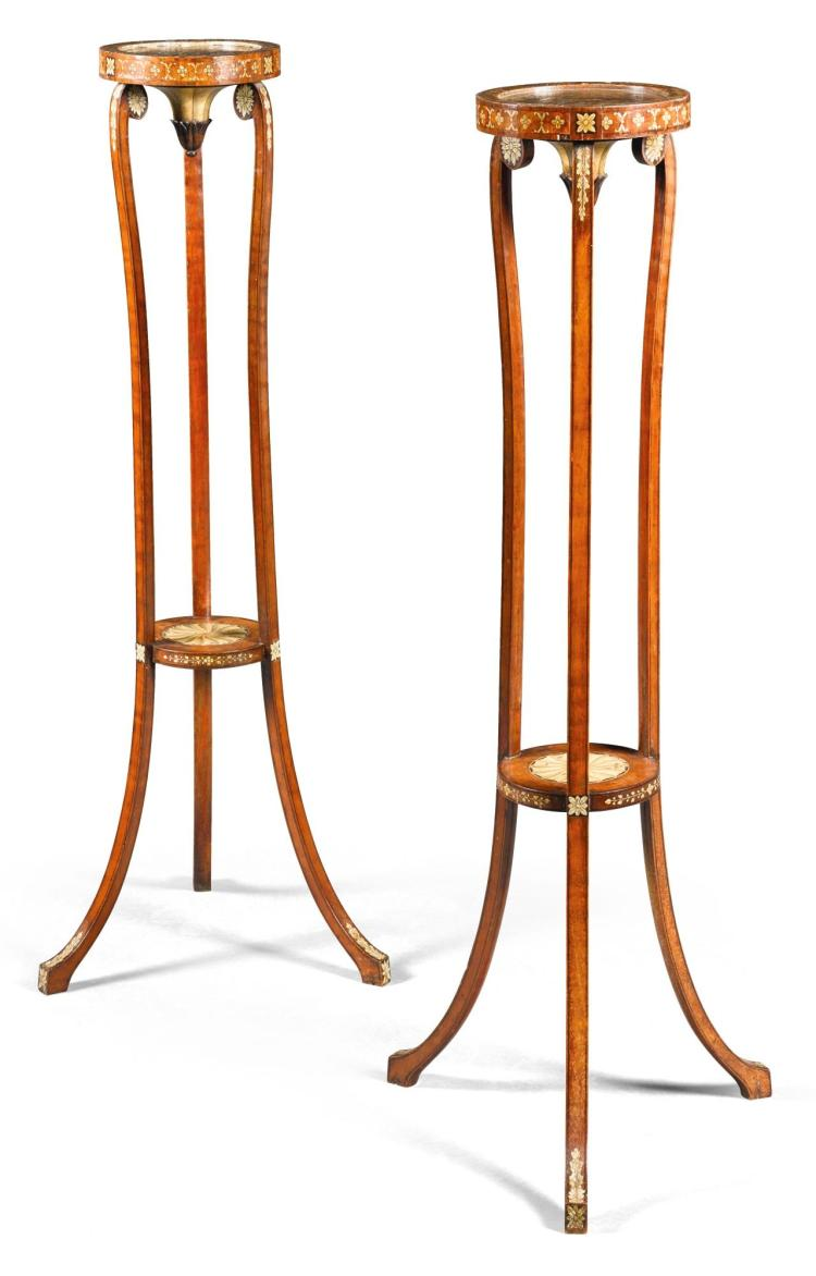 A PAIR OF GEORGE III PAINTED SATINWOOD TORCHÉRES, CIRCA 1790 |