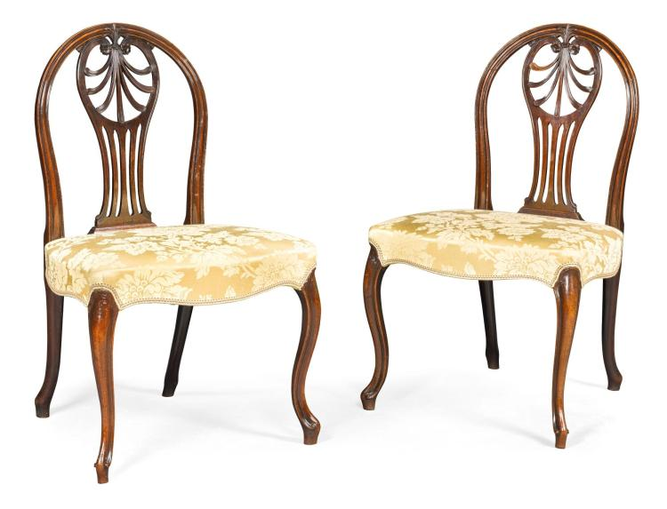 A PAIR OF GEORGE III CARVED MAHOGANY SIDE CHAIRS, CIRCA 1780 |