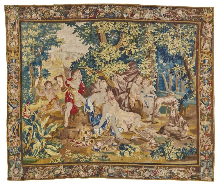 A FLEMISH MYTHOLOGICAL TAPESTRY, BRUSSELS, PROBABLY FROM THE 'STORY OF DIANA', CIRCA 1700 |