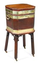 A GEORGE III BRASS BOUND MAHOGANY WINE COOLER, CIRCA 1760 |