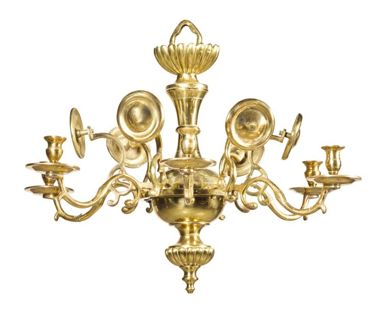 AN ANGLO-DUTCH BRASS SIX LIGHT CHANDELIER, LATE 19TH/EARLY 20TH CENTURY |