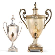 TWO GEORGE III SILVER PLATED URNS AND COVERS, POSSIBLY SHEFFIELD, LAST QUARTER 18TH CENTURY |