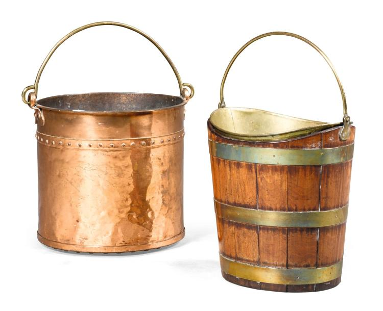 A GEORGE III BRASS BOUND MAHOGANY PEAT BUCKET, CIRCA 1780 |