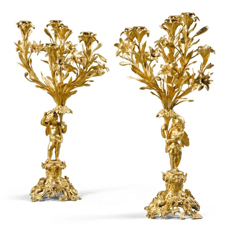 A PAIR OF FRENCH GILT-BRONZE SIX-LIGHT CANDELABRA LATE 19TH CENTURY |