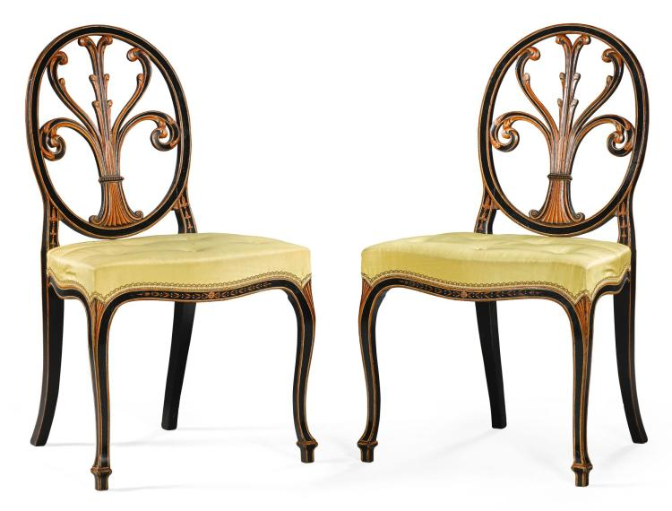 A PAIR OF GEORGE III POLYCHROME DECORATED SIDE CHAIRS, CIRCA 1780, IN THE MANNER OF HEPPLEWHITE |