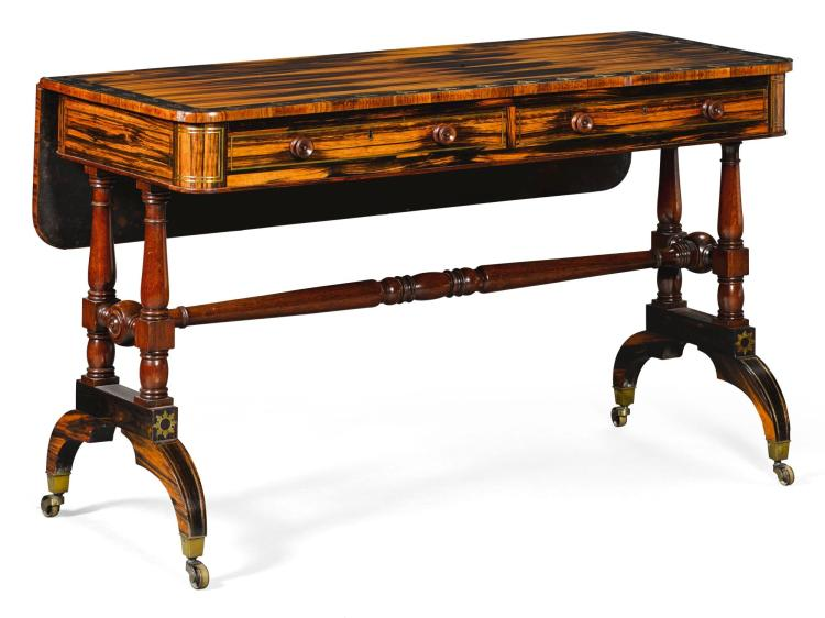 A REGENCY BRASS INLAID EBONY BANDED, ROSEWOOD AND CALAMANDER SOFA TABLE, CIRCA 1815, IN THE MANNER OF GEORGE OAKLEY |
