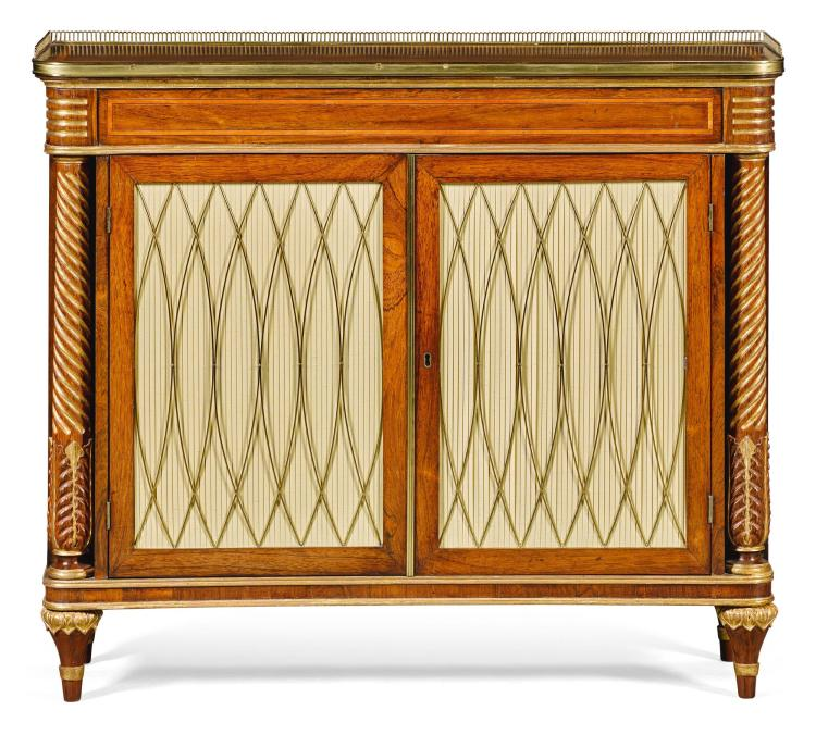 A REGENCY PARCEL-GILT SATINWOOD BANDED ROSEWOOD AND SIMULATED ROSEWOOD SIDE CABINET, CIRCA 1820 |