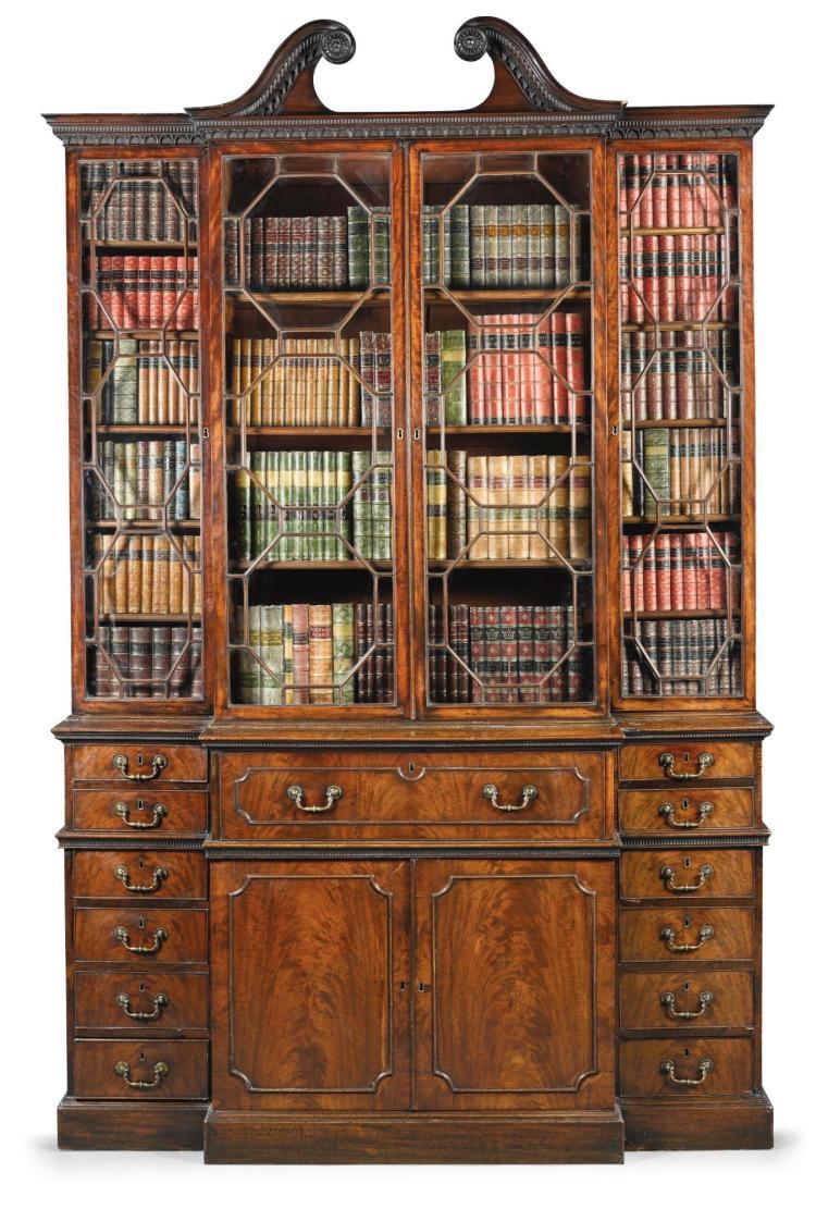 A GEORGE III MAHOGANY BREAKFRONT SECRETAIRE BOOKCASE, CIRCA 1770 |
