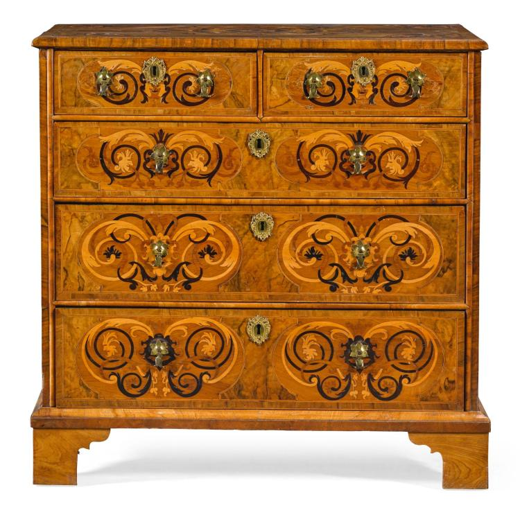 A WILLIAM AND MARY WALNUT, BURR YEW AND MARQUETRY CHEST OF DRAWERS |