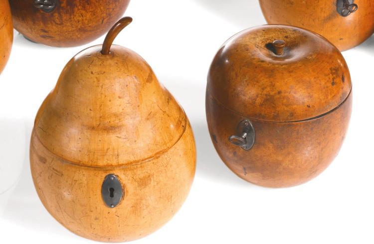 TWO GEORGE III FRUITWOOD TEA CADDIES, LATE 18TH/EARLY 19TH CENTURY |