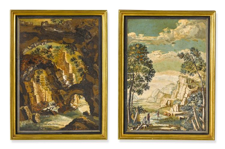 A PAIR OF SCAGLIOLA PLAQUES BY JACOB RAUCH LATE 18TH CENTURY |