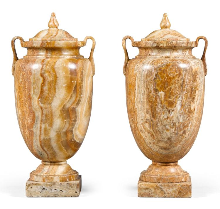 A PAIR OF ITALIAN ALABASTRO FIORITO TWO-HANDLED LIDDEDVASES LATE 18TH/EARLY 19TH CENTURY |