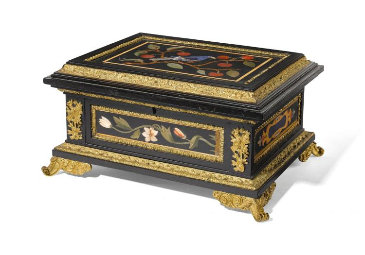 A WILLIAM IV GILT-BRONZE AND PIETRE DURE MOUNTED EBONY AND EBONISED CASKET CIRCA 1835, THE PIETRE DURE 18TH CENTURY |