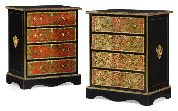 A PAIR OF FRENCH GILT-BRASS MOUNTED EBONYPREMIERE AND CONTRE PARTIE 'BOULLE' MARQUETRY CHESTS OF DRAWERS, CIRCA 1870 |