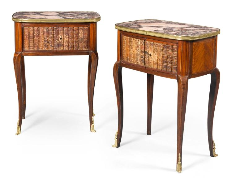 A PAIR OF LOUIS XV STYLE ROSEWOOD AND TULIPWOOD TABLES DE NUIT 19TH CENTURY |