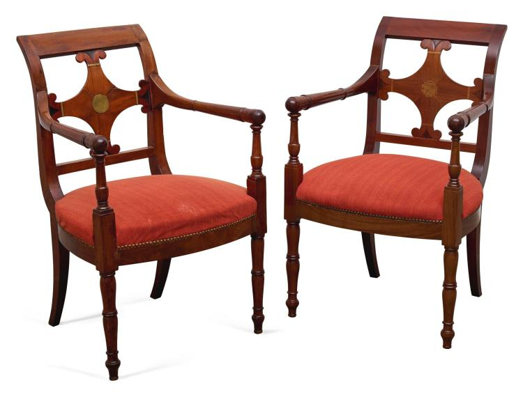 A PAIR OF LATE EMPIRE MAHOGANY FAUTEUILS CIRCA 1820 |