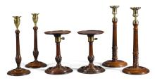 A PAIR OF GEORGE III MAHOGANY AND CHEQUER-BANDED ADJUSTABLE CANDLESTICK STANDS, CIRCA 1775 |