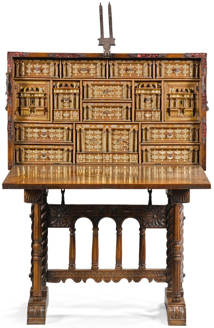 A SPANISH PARCEL-GILT BONE INLAID WALNUT BARGUEÑO 17TH CENTURY |