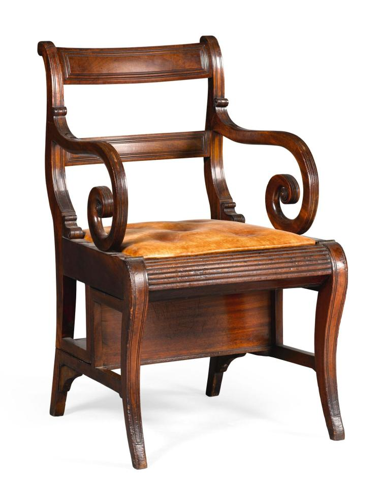 A REGENCY MAHOGANY METAMORPHIC LIBRARY CHAIR, CIRCA 1810, ATTRIBUTED TO GILLOWS AFTER A DESIGN BY MORGAN AND SAUNDERS |
