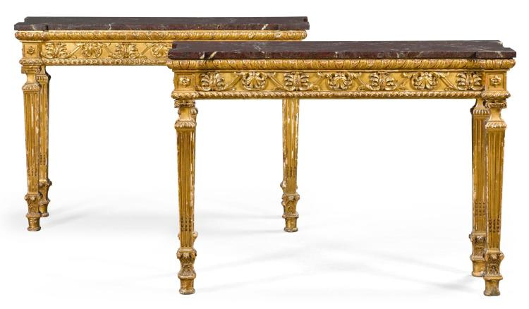 A PAIR OF WILLIAM IV GILTWOOD AND MARBLE CONSOLE TABLES, CIRCA 1835, ATTRIBUTED TO THE WORKSHOP OF WILLIAM CRIBB |