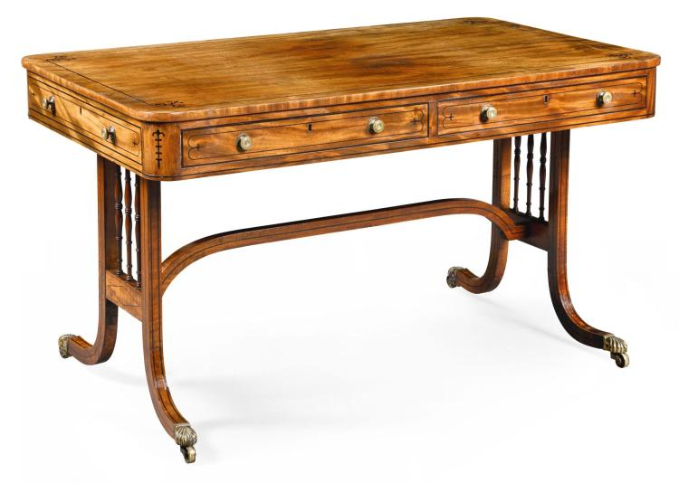 A REGENCY EBONY STRUNG MAHOGANY WRITING TABLE, CIRCA 1815, IN THE MANNER OF GILLOWS |