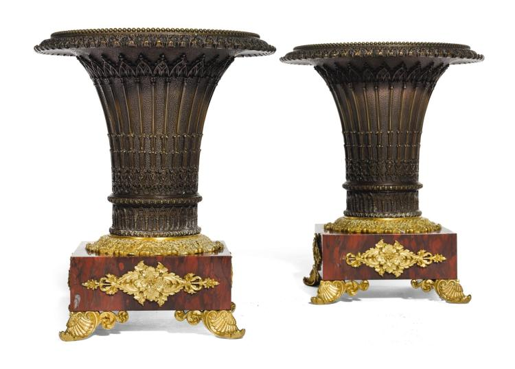 A PAIR OF RESTAURATION GILT, PATINATED BRONZE AND ROUGE GRIOTTE CACHE POTS, SECOND QUARTER 19TH CENTURY |