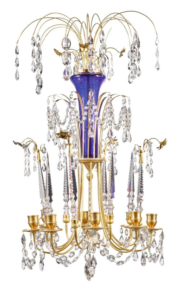 A RUSSIAN GILT-BRASS AND CUT-GLASS EIGHT-LIGHT CHANDELIER, LAST QUARTER 18TH CENTURY |