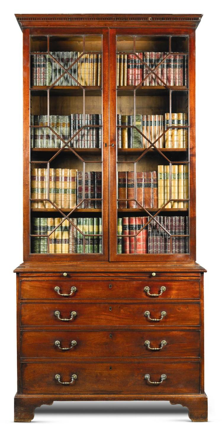 A GEORGE III MAHOGANY BOOKCASE-ON-CHEST, CIRCA 1770 |