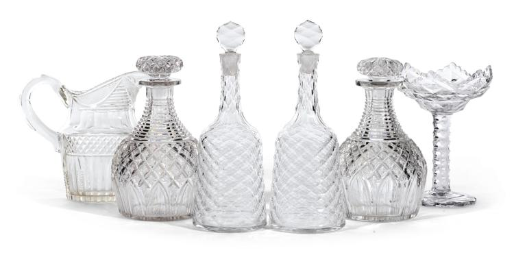 TWO PAIRS OF CUT GLASS DECANTERS AND STOPPERS, CIRCA 1770 AND 1820  