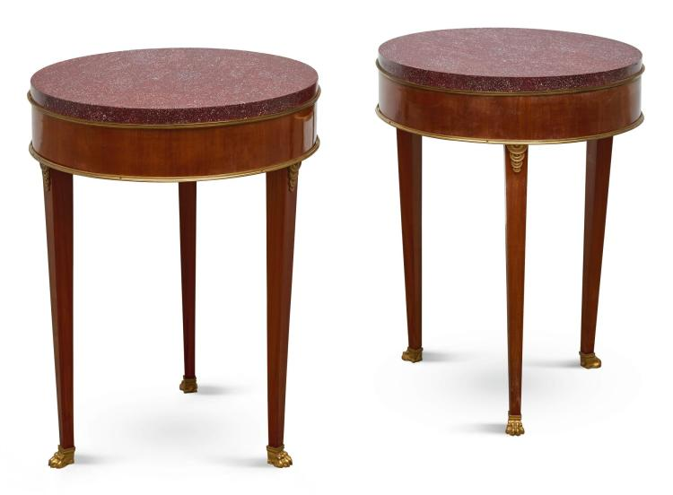 A PAIR OF LOUIS XVI STYLE GILT-BRONZE MOUNTED MAHOGANY GUÉRIDONS WITH PORPHYRY TOPS LATE 19TH CENTURY |