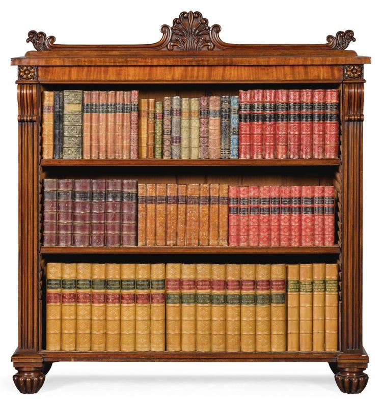 A GEORGE III MAHOGANY DWARF OPEN BOOKCASE, CIRCA 1800, IN THE MANNER OF GILLOWS |