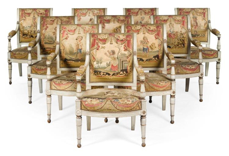 A SET OF TEN DIRECTOIRE PAINTED AND PARCEL-GILT FAUTEUILS CIRCA 1800 |