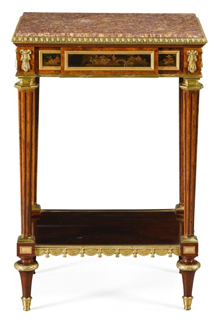 A LOUIS XVI STYLE GILT-BRONZE-MOUNTED AMBOYNA, MAHOGANY AND LACQUER OCCASIONAL TABLE BY HENRI DASSON STAMPED HD, CIRCA 1880 |