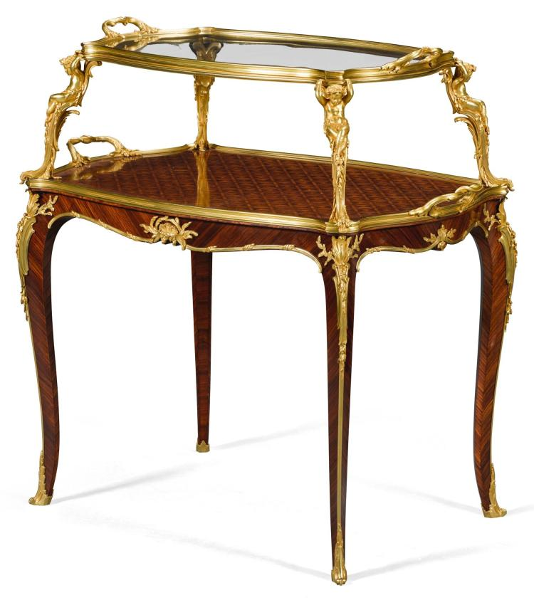 A LOUIS XV STYLE GILT-BRONZE MOUNTED KINGWOOD AND SATINÉ CUBE PARQUETRY TABLE À THÉ BY FRANÇOIS LINKE CIRCA 1900 |
